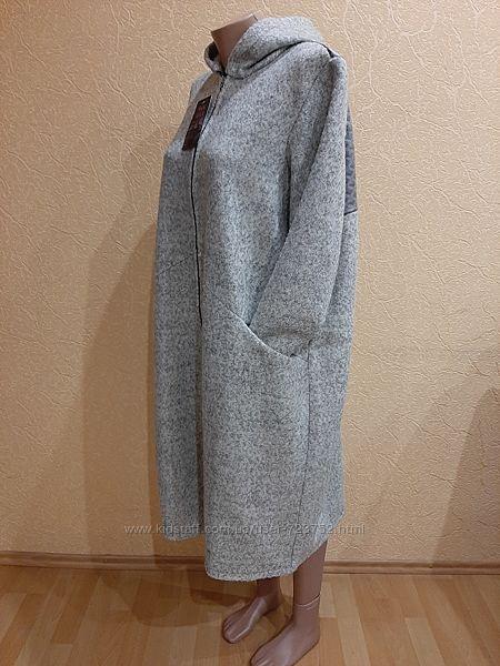 54-60 пальто шерстяное кардиган длинный батал новвй