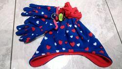 шапка зимняя теплая флисовая перчатки George 4-6