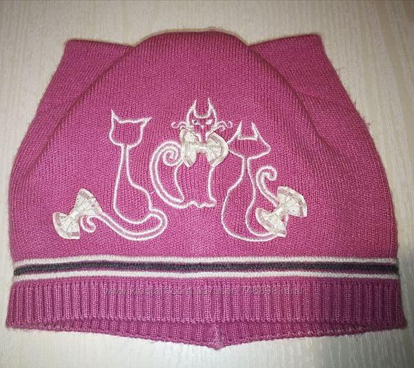 Демисезонная шапка для девочки Мяу ТМ Arctic Арктик, р.48-52, темно-розовая