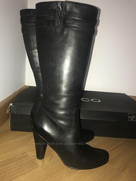 Ecco Laurel сапоги красивые и стильные натуральная кожа 38, каблук 8.5см