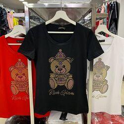 Женская футболка от  Glam Rich Турция мишка в стразы