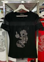 Дерзкая женская футболка Турция в стразы Rich Glam Mickey Mouse