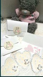 Валентинки сердце тедди мишка в конверте