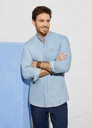 Рубашка джинсовая хлопковая сорочка М L 41 42 Livergy Германия