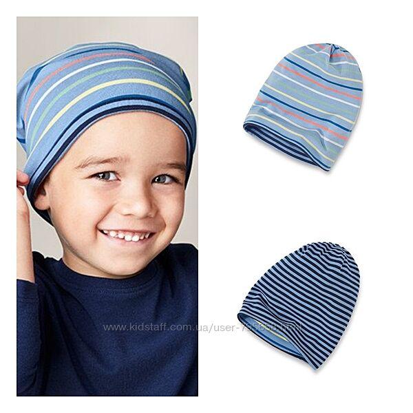 Качественная двухсторонняя двойная шапка хлопковая Tchibo деми 2-7лет