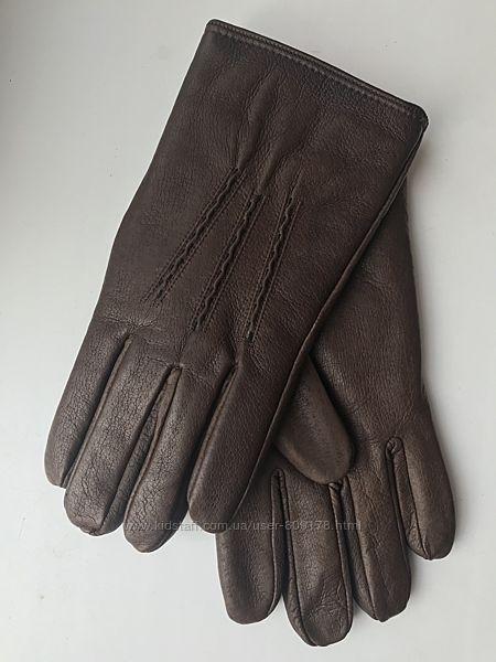 Перчатки мужские кожаные, утеплённые  р.9