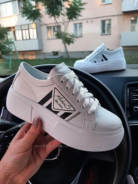 Шкіряні кросівки. 33-39 Арт 3427 білі