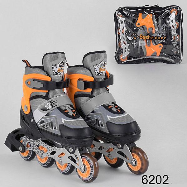 Best Fire ролики 30-33 размер детские раздвижные светящиеся колеса
