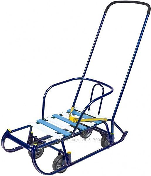 Санки Тимка 6 универсальные с колесами ручкой толкателем