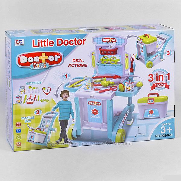 Набор доктора 008-929 в чемодане тележка больница
