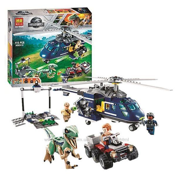 Bela 10925 конструктор Погоня на вертолете с динозавром лего совместимый