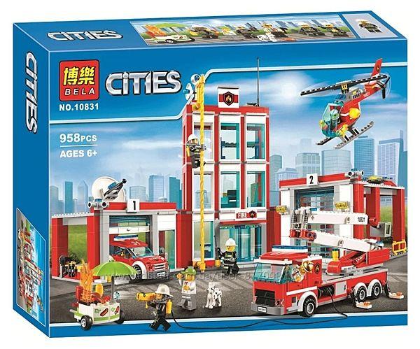 Бела Сити 10831 конструктор Пожарная часть с вертолетом лего совместим