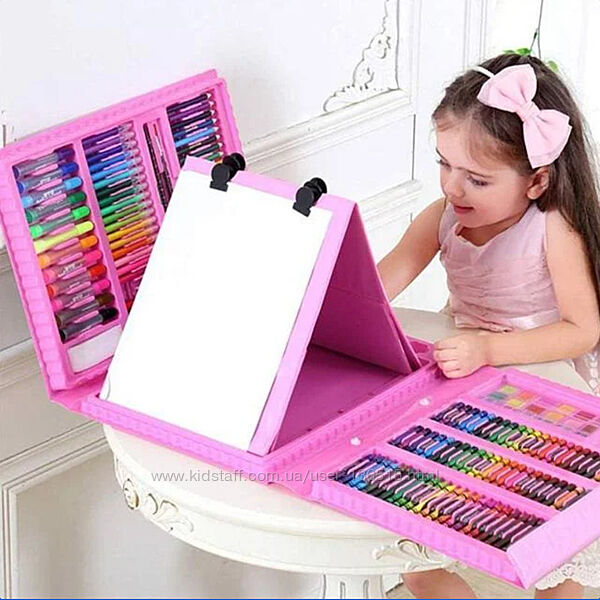 Набор художника для творчества с мольбертом. 208 предметов. 2 цвета
