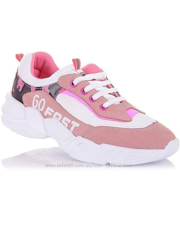 Кроссовки на белой рельефной подошве для девочек 37-40 р-р 5.2.57
