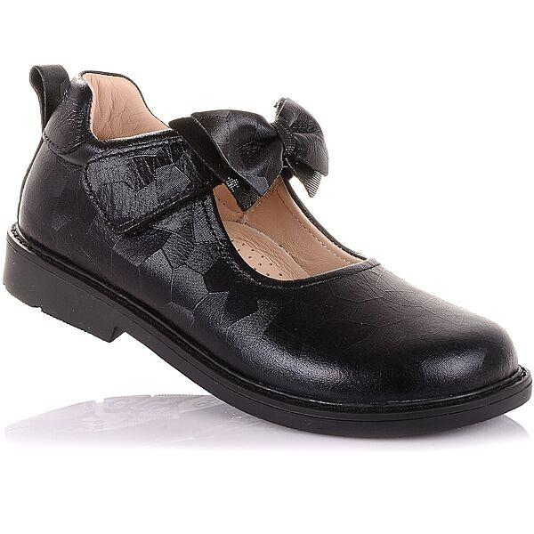 Туфли из натуральной кожи с бантом на липучке   для девочек 31-36 р-р 11.5.145
