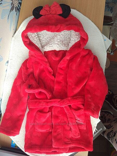 Детский плюшевый халат Минни маус 18-24 мес Disney с ушками красный