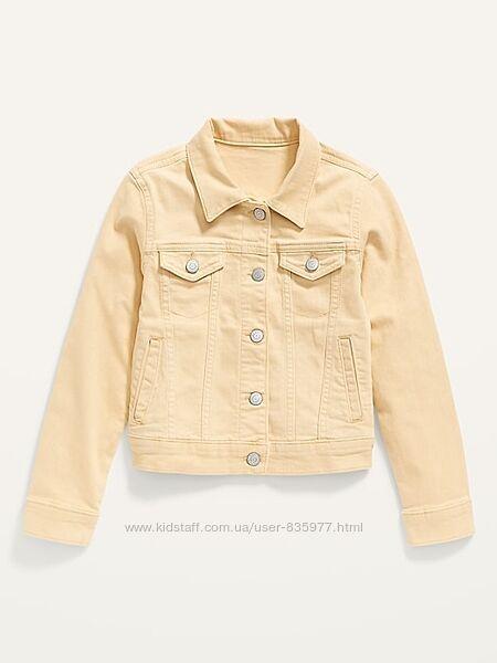 Джинсовый пиджак, куртка Олд Неви, 10-12, 14л, 16л. Old Navy. желтый черный