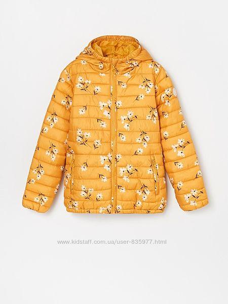 Куртка демисезонная Reserved р.116,122 желтая в цветочек