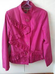 Яркий розовый плащ, куртка, фуксия,  отличное состояние, М