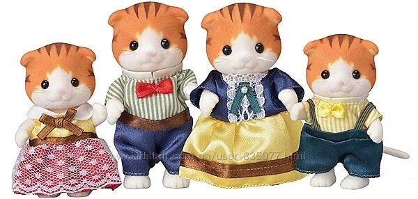 Sylvanian Families Семья рыжих вислоухих котов Кленовых котов Maple Cat Fam