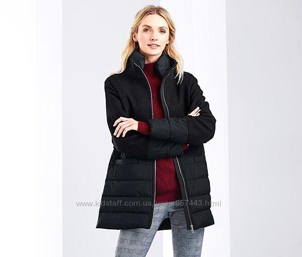 Шикарное стеганное пальто с шерстью от tchibo р. 42 евро, наш 48