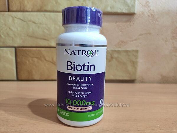 Natrol, биотин, максимальная сила действия, 10 000 мкг, 100 таблеток