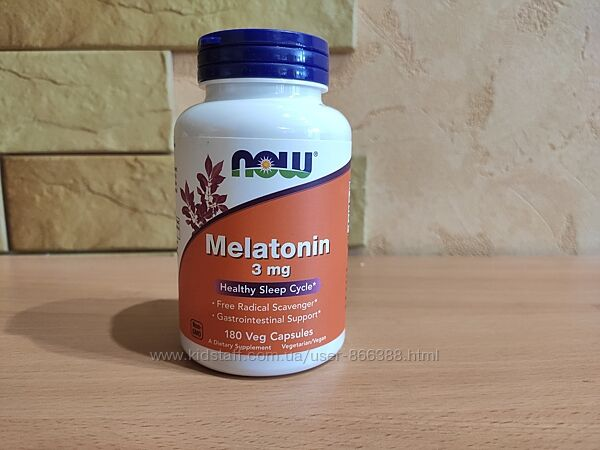 Now Foods, мелатонин, 3 мг, 180 растительных капсул