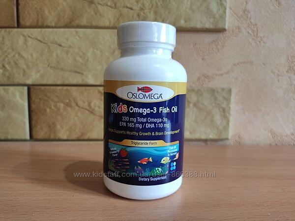 Oslomega, рыбий жир с омега-3 для детей, натуральный клубничный вкус, 60 шт