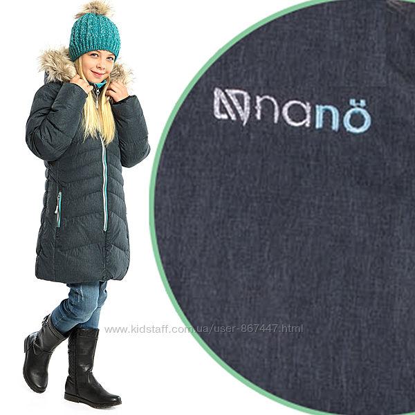 Стильное детское зимнее пальто на девочку бренд НАНО Канада размеры 110-146