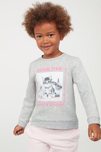 H&M Англия утепленный свитшот со звериным принтом в отличном сост. 6-8 лет