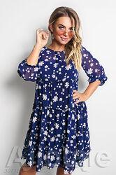 Синее шифоновое платье женское с ромашками большие размеры