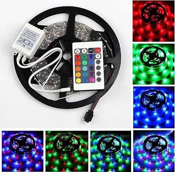 Светодиодная лента RGB 5 м, разноцветная, блок питания, пульт. LED 3528