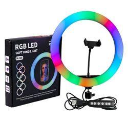 Кольцевая LED лампа для селфи RGB. Световое кольцо со штативом.