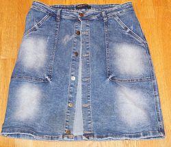 Юбка -Relucky-  джинсовая 48-50 размера, с карманами, с оригинальным дизайн