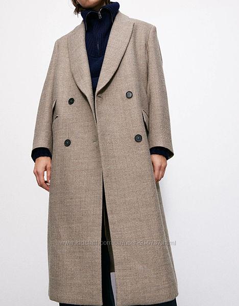 Легкое шерстяное пальто ZARA оригинал М