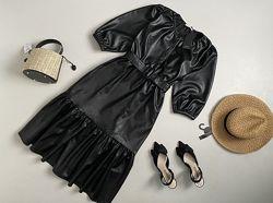 Новое роскошное кожаное платье миди с актуальным объемным рукавом Reserved