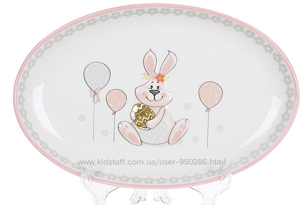 Блюдо керамическое овальное 29см с объемным рисунком Веселый кролик