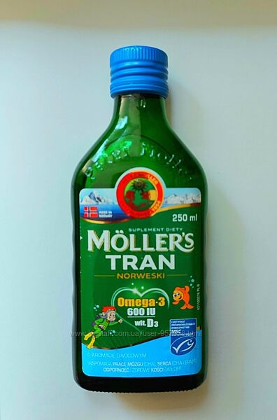 MOLLERS Норвезький рибячий жир зі смаком фруктів 250мл Норвежский рыбий