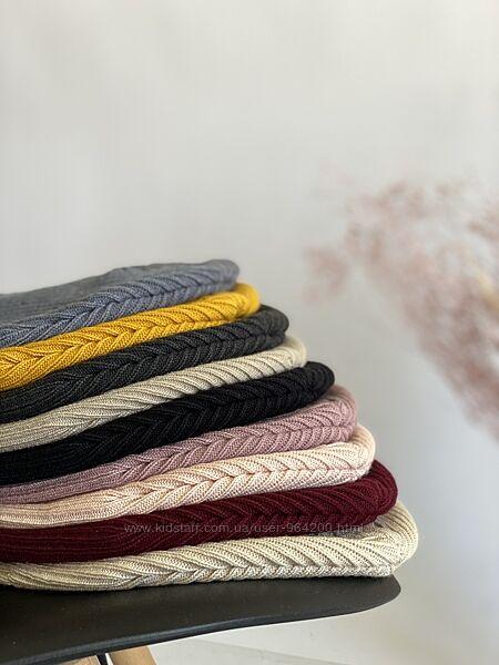 Удлиненная женская шапка в рубчик, двухслойная,  расцветки в наличии