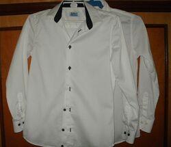 Рубашка team school. Белая рубашка. В школу. рост 134 - 140
