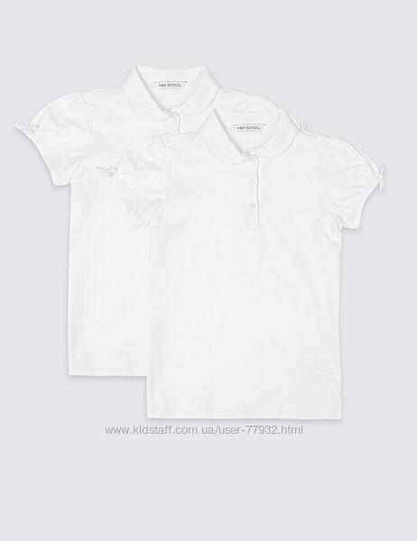 Белые блузы-поло M&S, набор из 2-х поло, размер 12-13 лет. Можно поштучно.