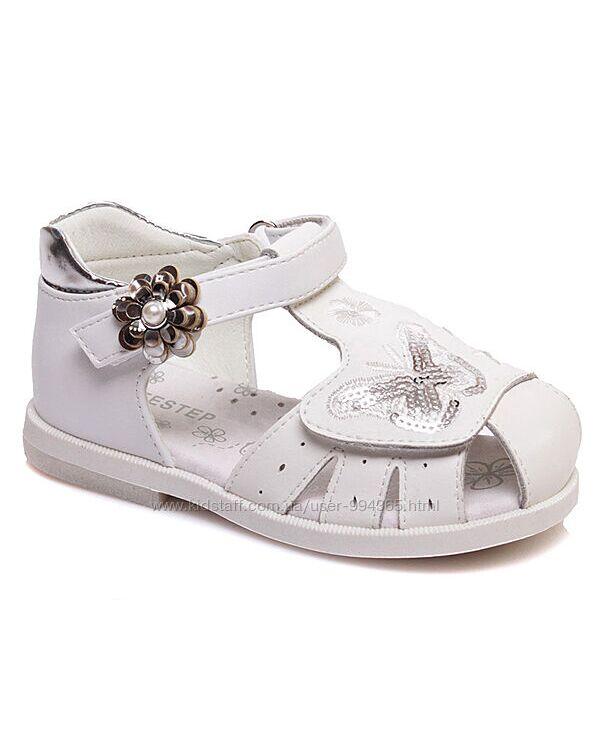 Модные белые босоножки weestep для девочек р.21-26