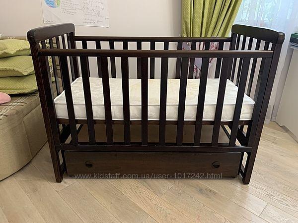 Детская кровать Верес венге маятник с матрасом