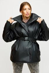 Модная объемная деми куртка черный и мокко р.42-46