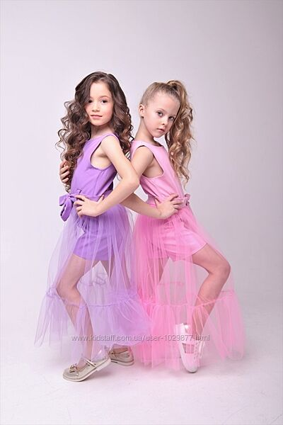 Шикарный комбинезон  юбка из еврофатина для девочки 104-152р