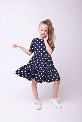 Шикарное летнее платье Горох для девочек 92-152р от производителя