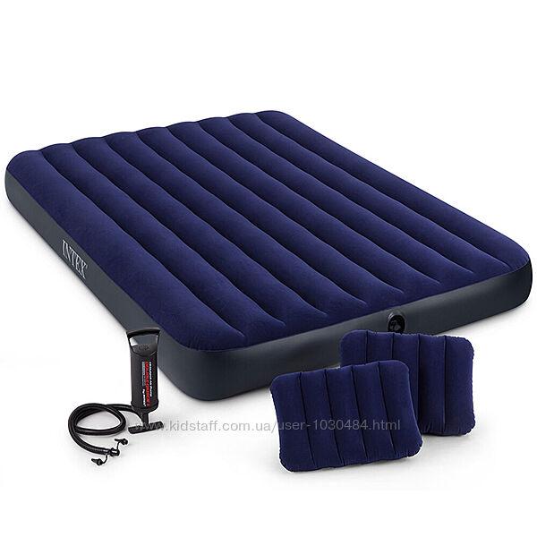 Матрас Intex 64765, 152 х 203 х 25 см, с двумя подушками, насос