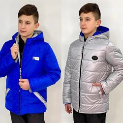 Двухсторонняя куртка для мальчика 128-146. Электрик с серым