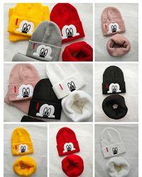 Классный набор двойная шапка с отворотом Мики и снуд 48-54