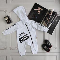 Белый  ромпер Boss для новорождённых
